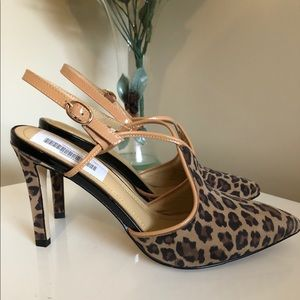 Zizi Leather Animal Print Pointy Toe Shoes